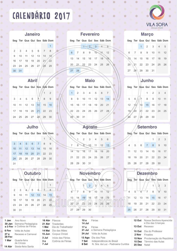 Vila Sofia - Calendario 2017